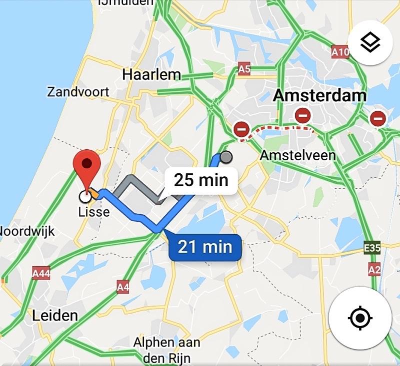Kartta Amsterdamin lentokentältä Keukenhofiin