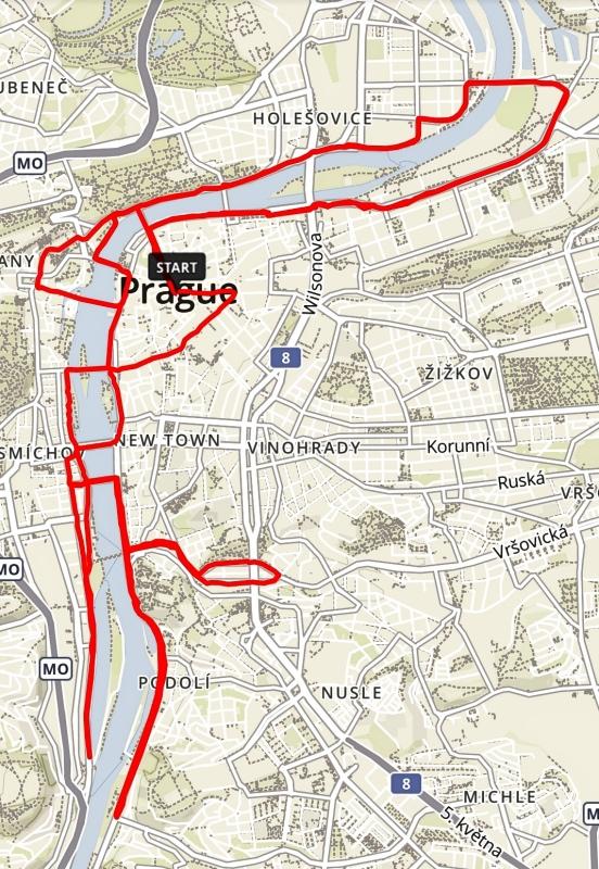 Prahan maratonin reittikartta
