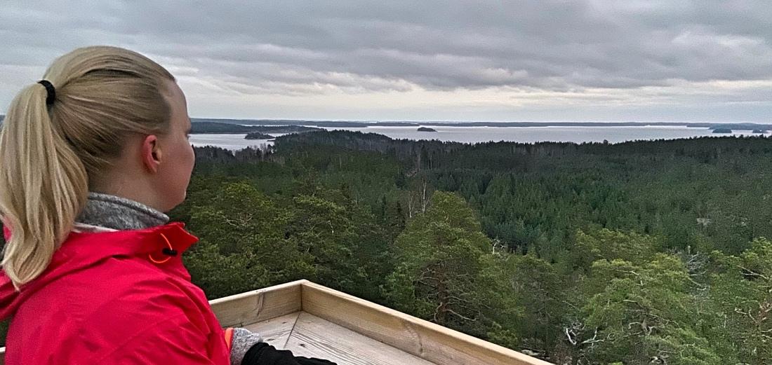 Maisema näköalatornilta Senatsbergetin hyvinvointipolulla Taalintehtaalla